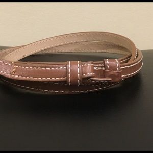 J CREW Brown Leather Belt with White Stitching.